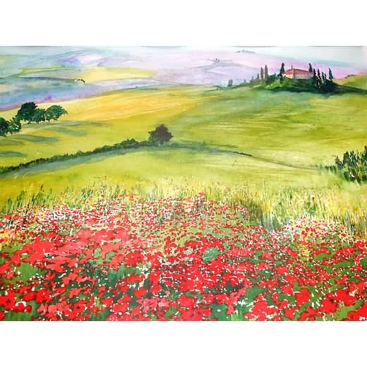 Lavender and Poppies, Tuscany, Italy (Original Watercolour) - £250