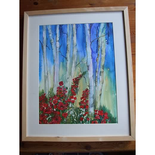 Birch Trees and Poppies