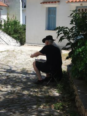 Alan Painting in Skiathos Old Town